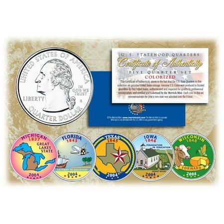 Statehood Quarter Coin (2004 US Statehood Quarters COLORIZED Legal Tender 5-Coin Complete Set)