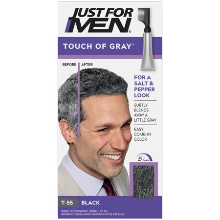 Just For Men Touch of Gray, Gray Hair Coloring for Men's with Comb Applicator, Great for a Salt and Pepper Look - Black, T-55 Just 5 Colorant