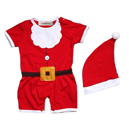 Christmas Baby Costume (StylesILove 2-PC Baby Christmas Santa Costume Romper with Hat (6-12)