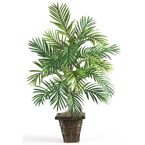 Areca Palm with Wicker Basket Silk Plant