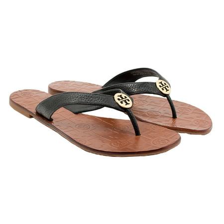 Tory Burch Women's Thora Flat Thong Sandal (Black, Size (Tory Burch Black Patent Leather Reva Flats)