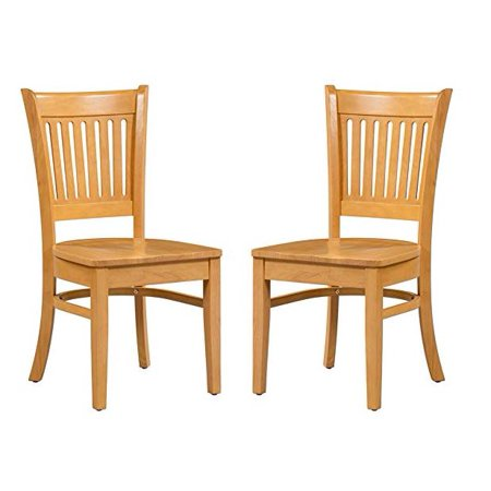 Trithi Furniture - Bellingham Solid Wood Kitchen & Dining Chair with Wooden Seat - Set of 2 (Oak)