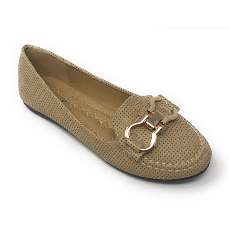 Victoria K Women's Pindot Gold Buckle Loafer Flats