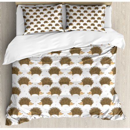 Brown Caramel (Hedgehog Queen Size Duvet Cover Set, Cartoon Style Porcupine Mascots with Tiny Little Swirls and Leaves, Decorative 3 Piece Bedding Set with 2 Pillow Shams, Caramel Pale Brown White, by Ambesonne)