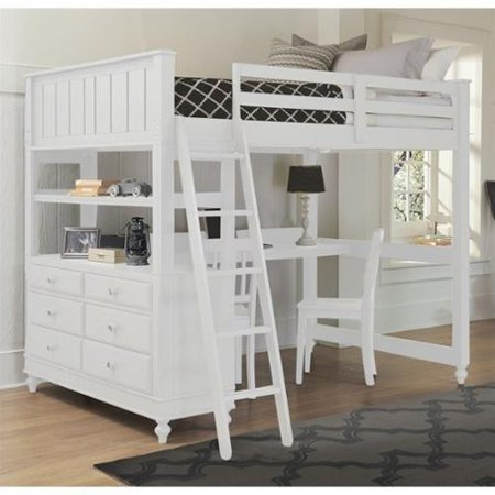 Ne Kids Lake House Full Loft Bed With Desk In White