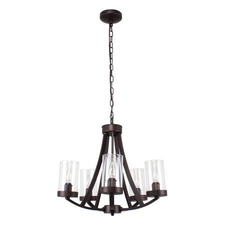 CHLOE Lighting FLORENCE Farmhouse 5 Light Rubbed Bronze Chandelier 20.5