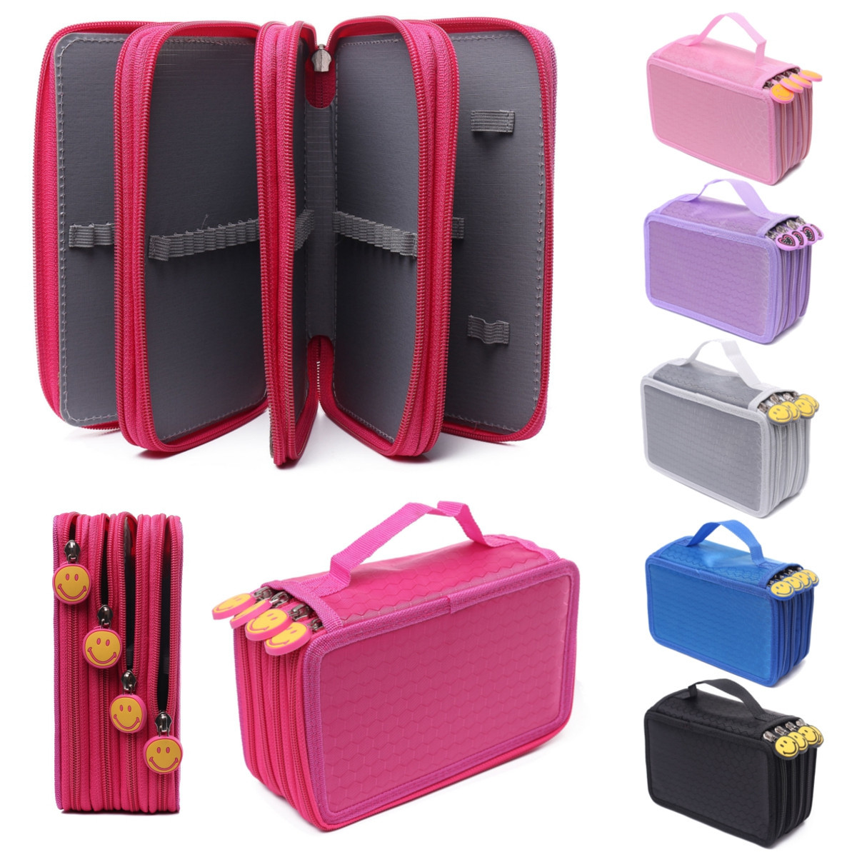 Meigar Multi-layer Zipper Pen Bag Pencil Case, Cosmetic Travel Cosmetic Brush Makeup Storage Bags Pouch Box