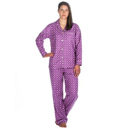 Womens Cotton Flannel Pajama Sleepwear Set - Polka Purple - Small