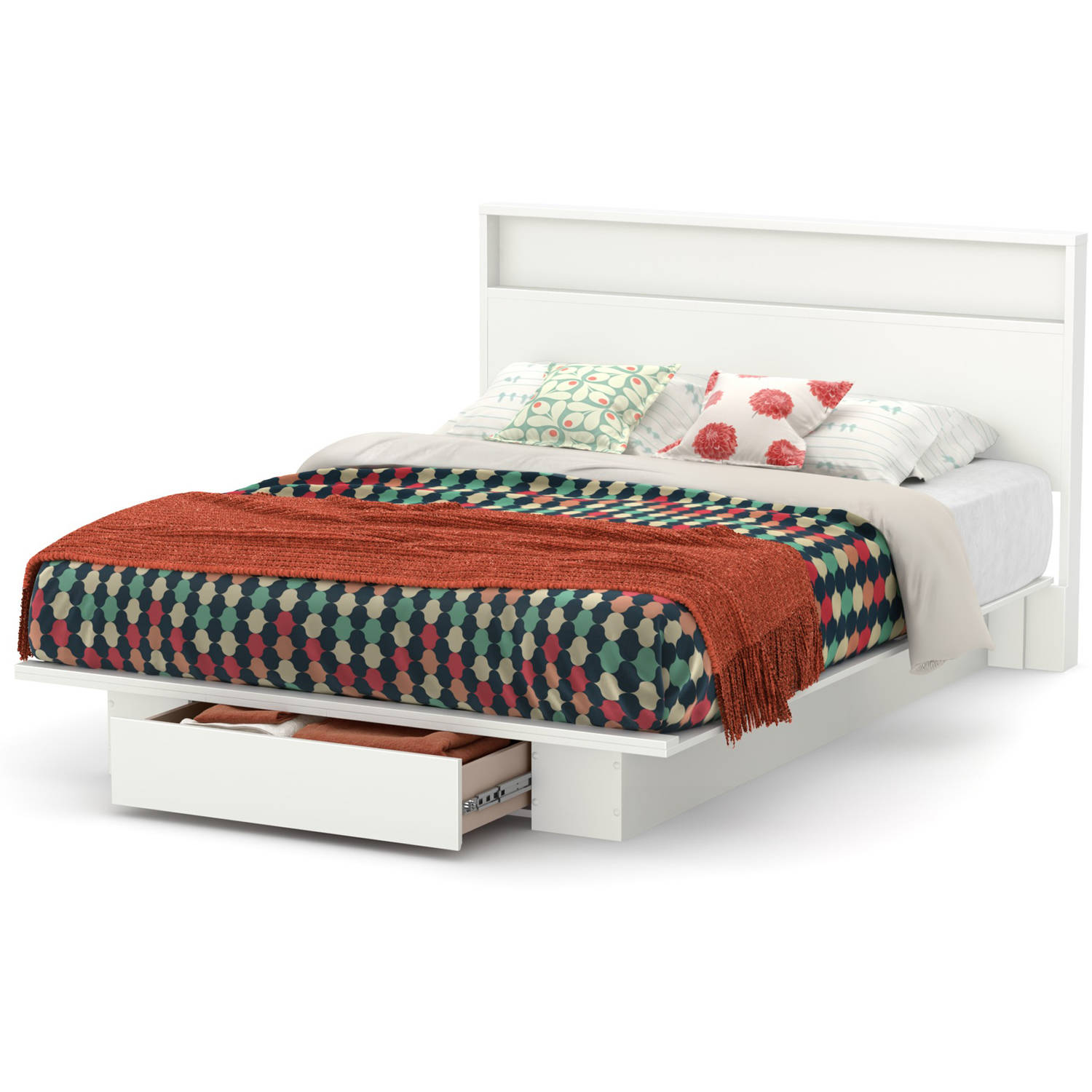 South Shore Holland Full/Queen Platform Bed and Headboard Set, Multiple Finishes