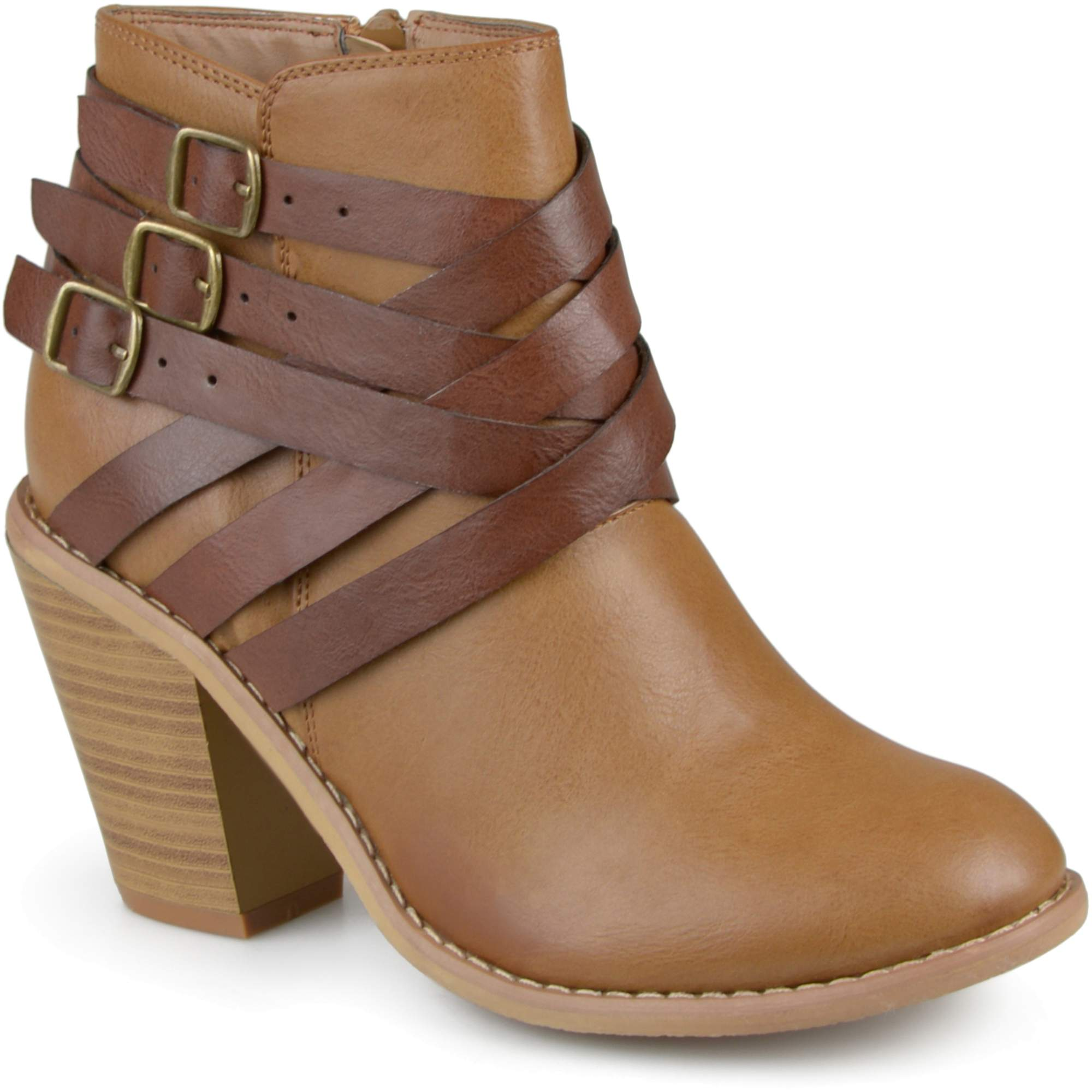 Brinley Co. Womens Ankle Wide Width Multi Strap Boots