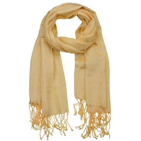 (NYFASHION101 Women's Sheer Metallic Braided Tassel Ends Scarf Shawl Wrap, Gold)