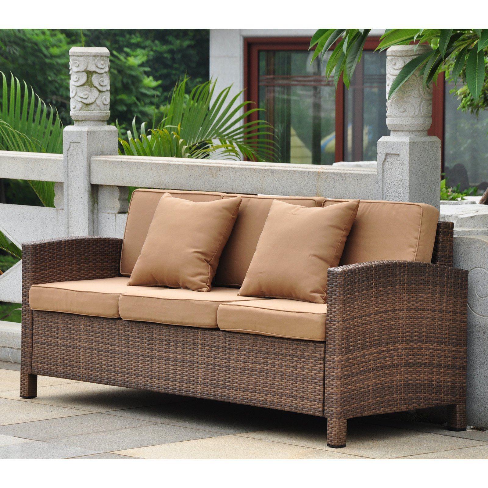 International Caravan Barcelona Resin Wicker Patio Sofa With Cushions    Walmart.com