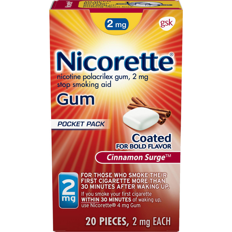 Nicorette Nicotine Gum, Stop Smoking Aid, 2 mg, Cinnamon Surge Flavor, 20 count