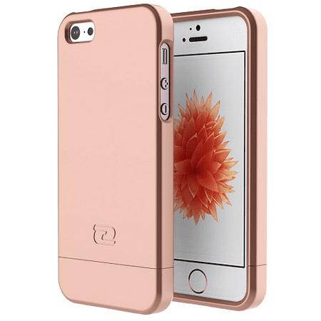 iPhone 5 SE Case, Encased (SlimShield Series) Ultra Thin Hybrid Cover (Rose Gold) (Including Rope)