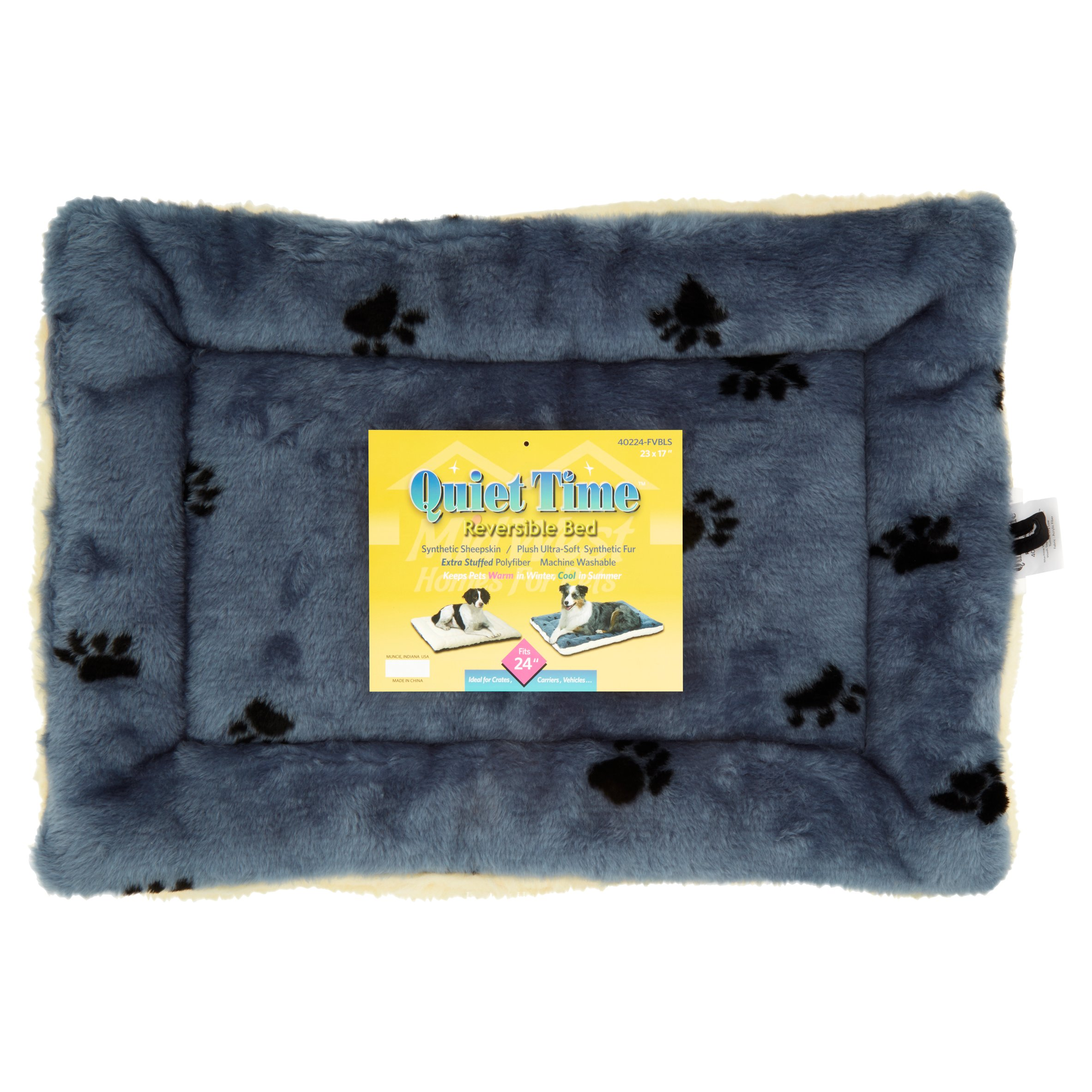 Midwest Fleece Blue Paw Print Reversible 24""