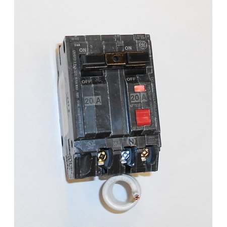 GE Industrial THQL2120GFT Plug-In Mount Type THQL Feeder Self-Test Ground Fault Circuit Interrupter 2-Pole 20 Amp 120/240 Volt AC