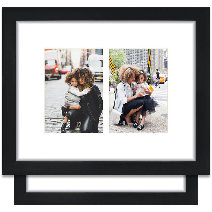 Craig Frames 11x14 Black Picture Frame, Single White Collage Mat with Two 5x7 Openings, Set of 2