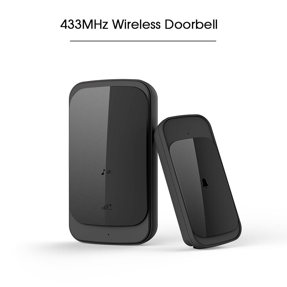 Wireless Doorbell 58 Melodies 4 Levels Volume Adjustment 900 feet Operation Range Outdoor Waterproof Door Bell, No Batteries Required for Receiver