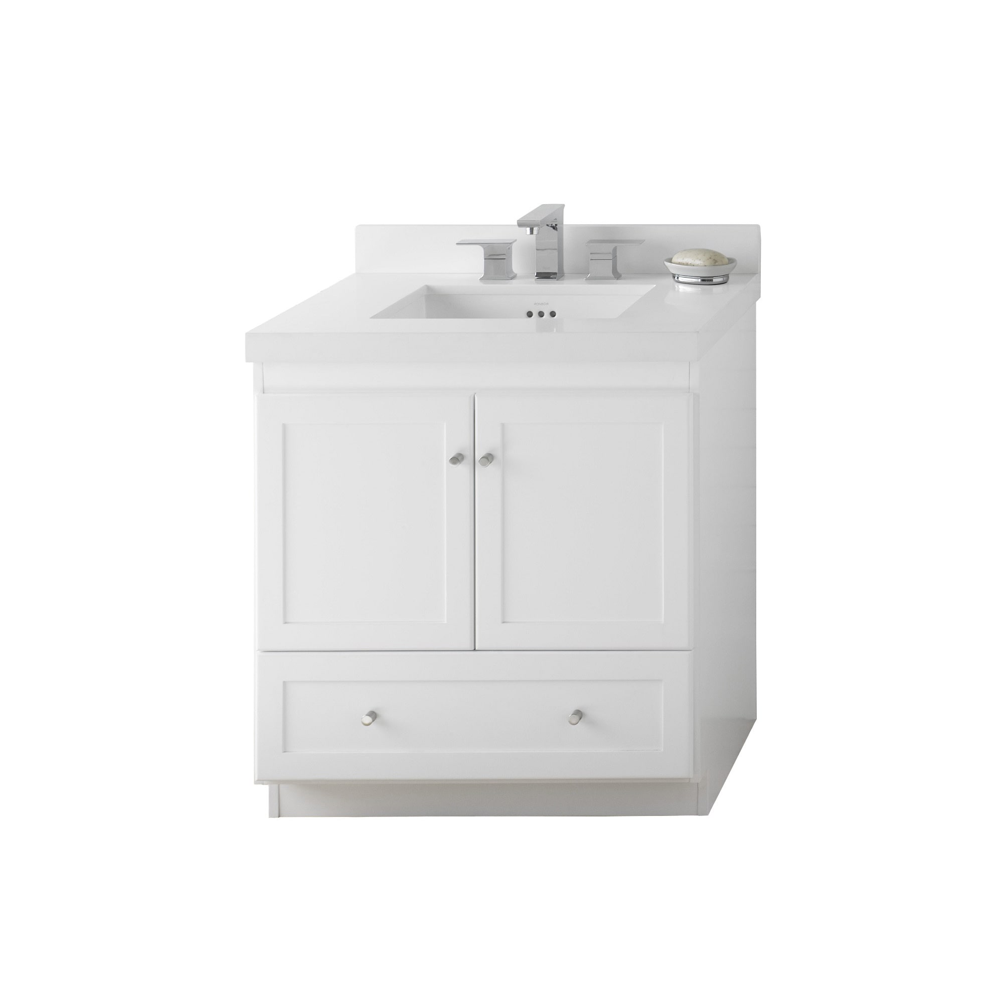 Ronbow Shaker 30 Inch Bathroom Vanity Set In White, Quartz Countertop And  Backsplash With