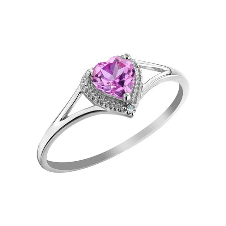Created Pink Sapphire Heart Ring with Diamond 1/2 Carat (ctw) in 10K White - Diamond & Sapphire Heart Ring