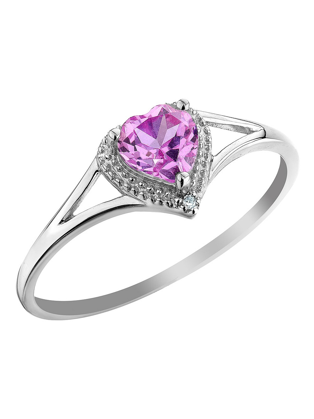 Created Pink Sapphire Heart Ring with Diamond 1/2 Carat (ctw) in 10K White Gold