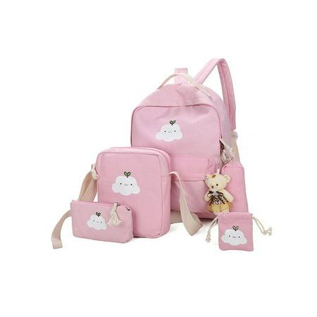 Anyprize 5 Pcs/Sets Canvas Backpacks for School for Girls, Pink Classic Canvas Backpack for Students/School, 1 Backpacks+1 Shoulder Bag+1 Handbag+1 Pencil Bag+1 wallet for Middle School](Classic School Girl)