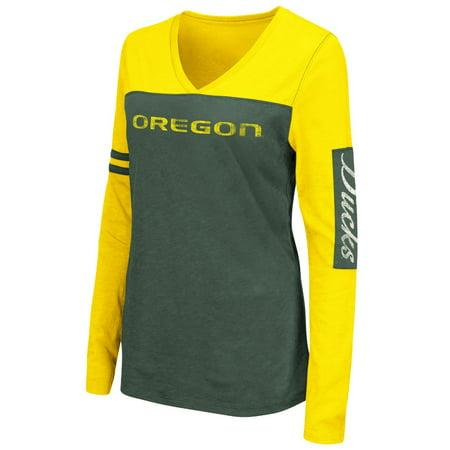 Oregon Ducks Womens Ncaa  Whatevs  Long Sleeve V Neck T Shirt