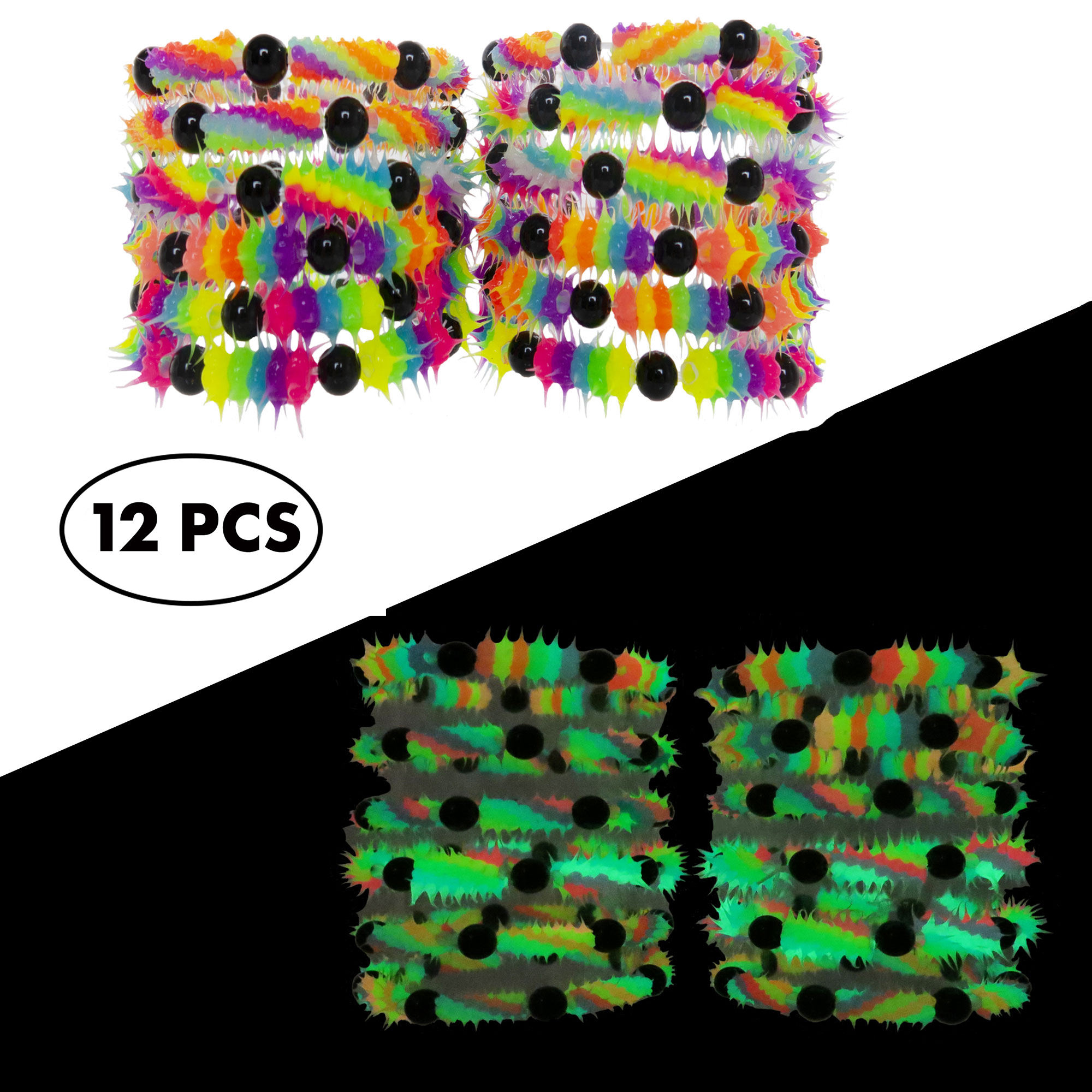 FROG SAC Glow in The Dark Bracelets for Boys Girls Teens Kids 12 PCs Pack - Fluorescent and UV Led Black Light Reactive Neon Rave Beaded Stretch Bracelet Toy Set - Party Favors and Supplies