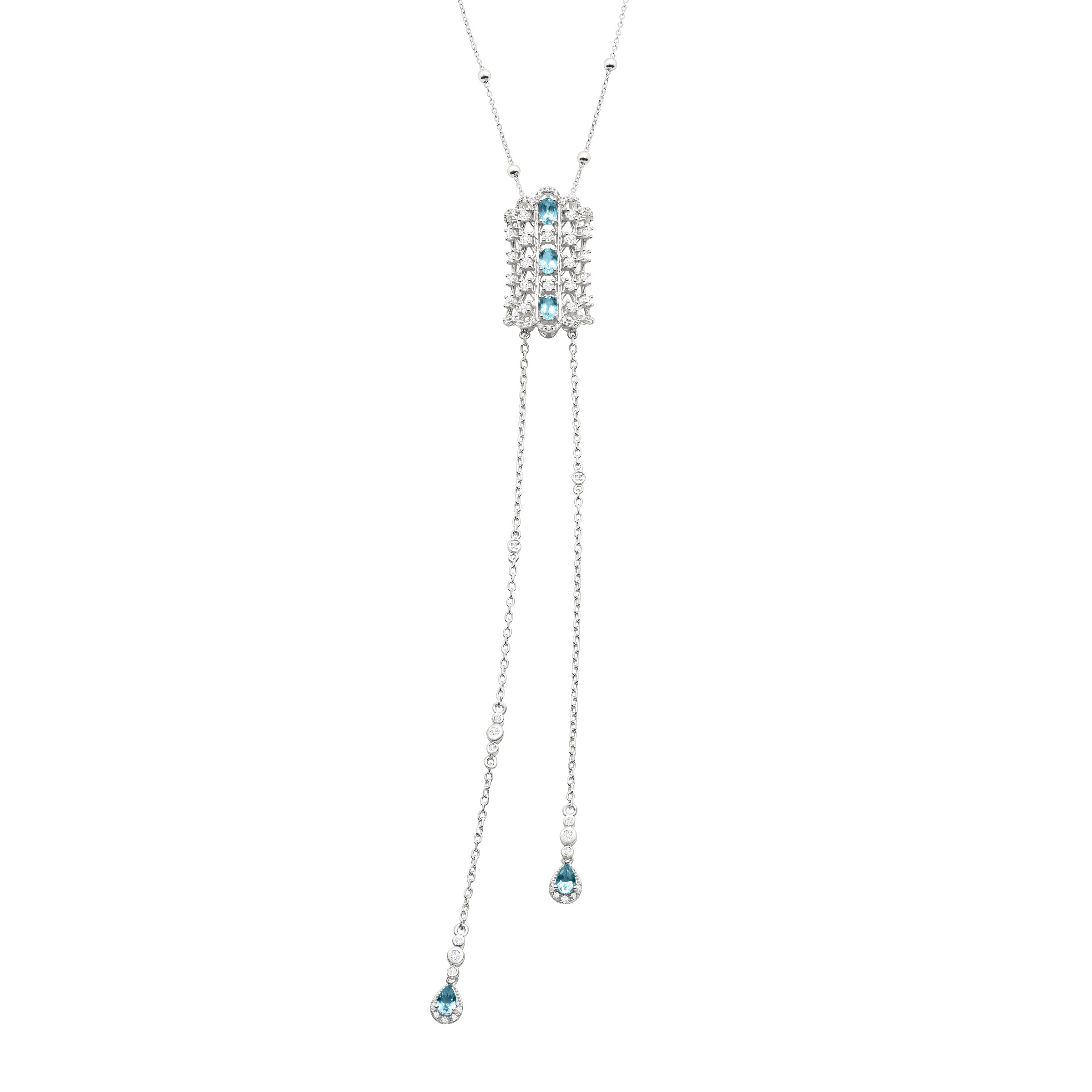Cristina Sabatini Natural Swiss Blue Topaz & White Topaz Lumiere Necklace in Sterling Silver by Richline Group