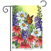 "Monarch Spring Garden Flag Butterfly Floral 12.5"" x 18"" Briarwood Lane"
