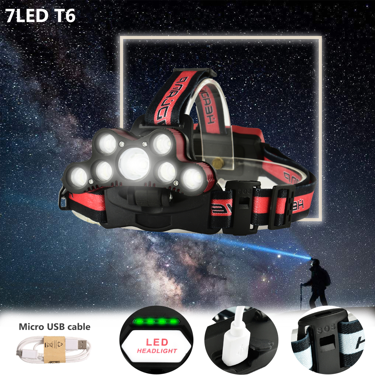 Elfeland 5000Lumens 7xT6 LED USB Rechargeable Headlight Headlamp Torch with SOS Help Whistle 6 Modes For Camping Hiking