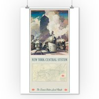 New York Central System - For the Public Service (with map)Poster (artist: Ragan) USA c. 1946 (9x12 Art Print, Wall Decor Travel Poster)