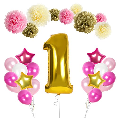 Birthday Party Balloons Kit By Treasures Gifted: Babys 1st Celebration First Birthday Decorations, 48 Pieces, Paper Pompoms, Star And Number 1 Balloons& Ribbon (Pink)