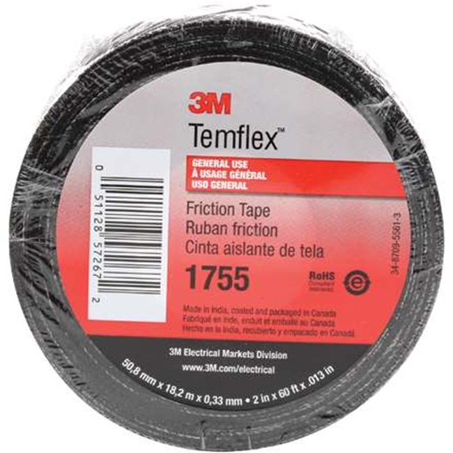 Scotch T9641755 0.75 in. x 60 ft. Black 1755 Cotton Friction Tape - Case of 20