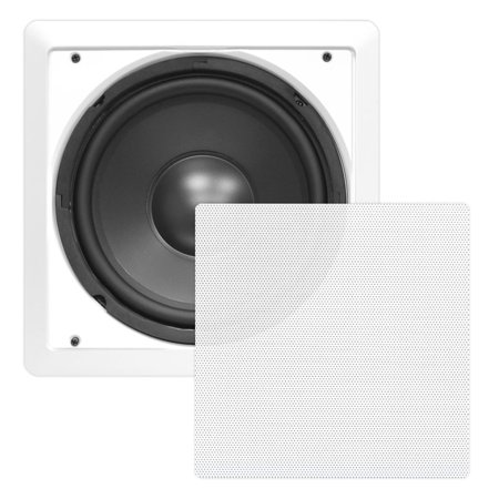 - PYLE PDIWS10 - In-Wall / In-Ceiling 10'' High Power Subwoofer System, DVC, Flush Mount, White, Single Speaker