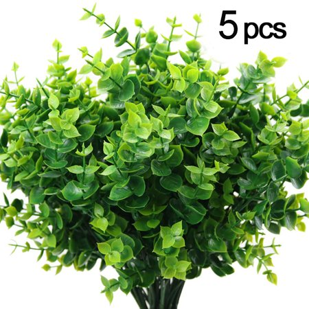 Artificial Boxwood (Pack of 5),Artificial Farmhouse Greenery Boxwood Stems Fake Plants and Greenery Springs for Farmhouse,Home,Garden,Office,Patio,Wedding and Indoor Outdoor Decoration ()