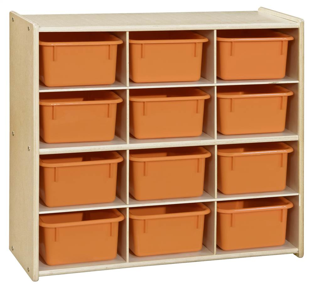 Contender? Baltic Birch 12-Cubby Storage Unit with Orange Tubs - Assembled