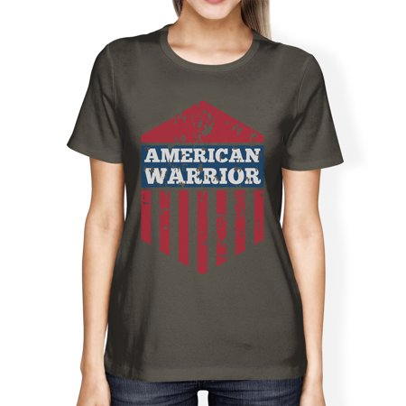 American Warrior Tee Womens Dark Grey Short Sleeve T-Shirt For Her (Grey Warrior)