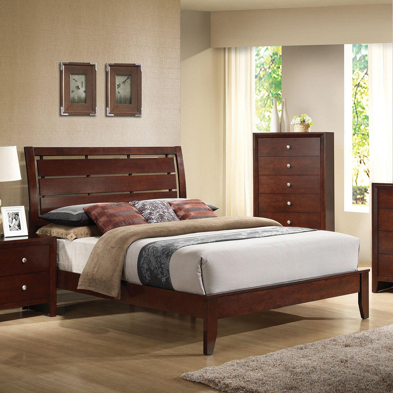 ACME Ilana Queen Panel Bed in Brown Cherry Rubberwood