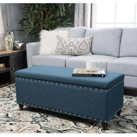 christopher knight home tatiana nailhead studded fabric storage ottoman bench navy blue. Black Bedroom Furniture Sets. Home Design Ideas