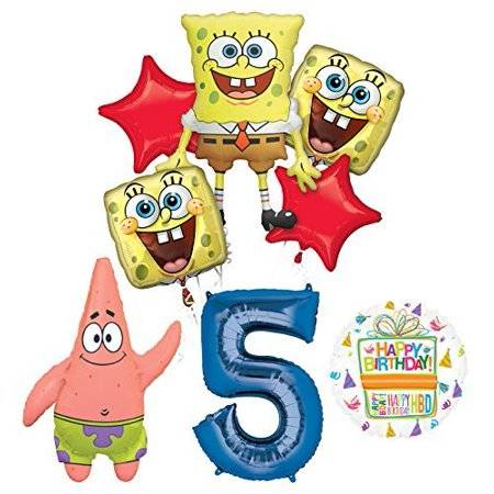 Spongebob Squarepants 5th Birthday Party Supplies and Balloon Bouquet - Spongebob First Birthday