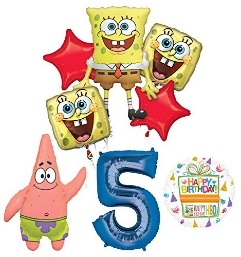 Spongebob Squarepants 5th Birthday Party Supplies and Balloon Bouquet Decorations