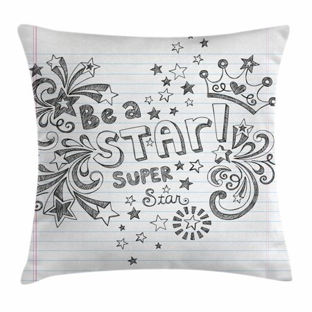 Teen Room Decor Throw Pillow Cushion Cover, Be A Super Star Phrase on Notebook Paper Backdrop with Stars Crown Print, Decorative Square Accent Pillow Case, 16 X 16 Inches, Grey White, by Ambesonne
