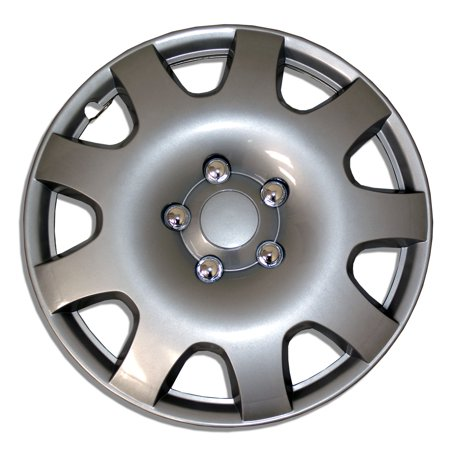 - Set of 4  Metallic Silver Pop-On Hubcaps 15