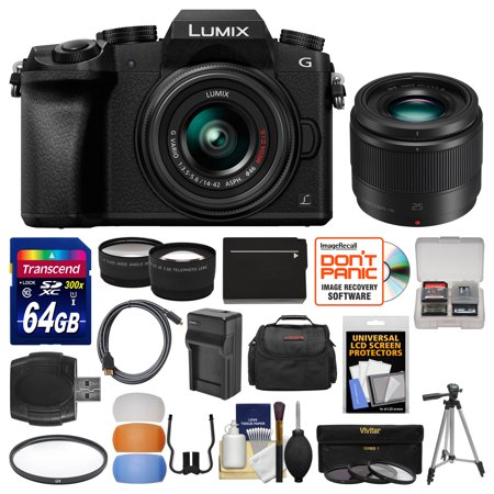 Panasonic Lumix DMC-G7 4K Wi-Fi Digital Camera & 14-42mm Lens (Black) with 25mm f/1.7 Lens + 64GB Card + Case + Battery & Charger + Tripod +