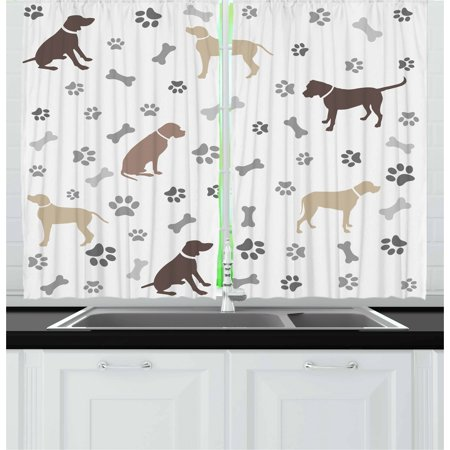 Dog Lover Curtains 2 Panels Set, Paw Print Bones and Dog Silhouettes American Foxhound Breed Playful Pattern, Window Drapes for Living Room Bedroom, 55W X 39L Inches, Umber Beige Grey, by Ambesonne