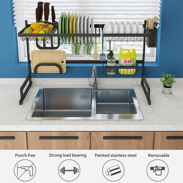 1 2 Tier Dish Drying Rack Over Sink Drainer Shelf Utensils Holder Stainless Steel Display Stand Kitchen Space Saver Washing Organizer For Kitchen Counter Walmart Com Walmart Com