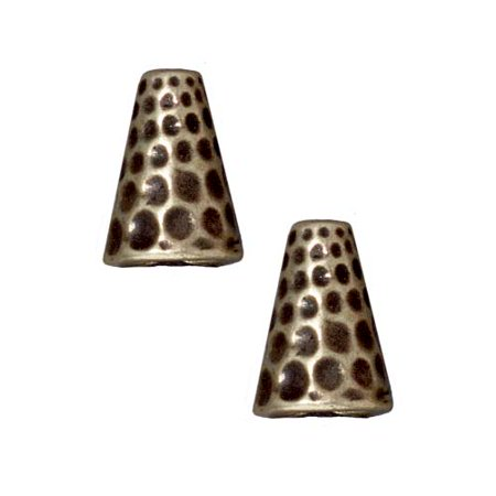 Brass Oxide Finish Pewter Hammertone Tall Cone Strand Reducer Beads 12.8mm (2)