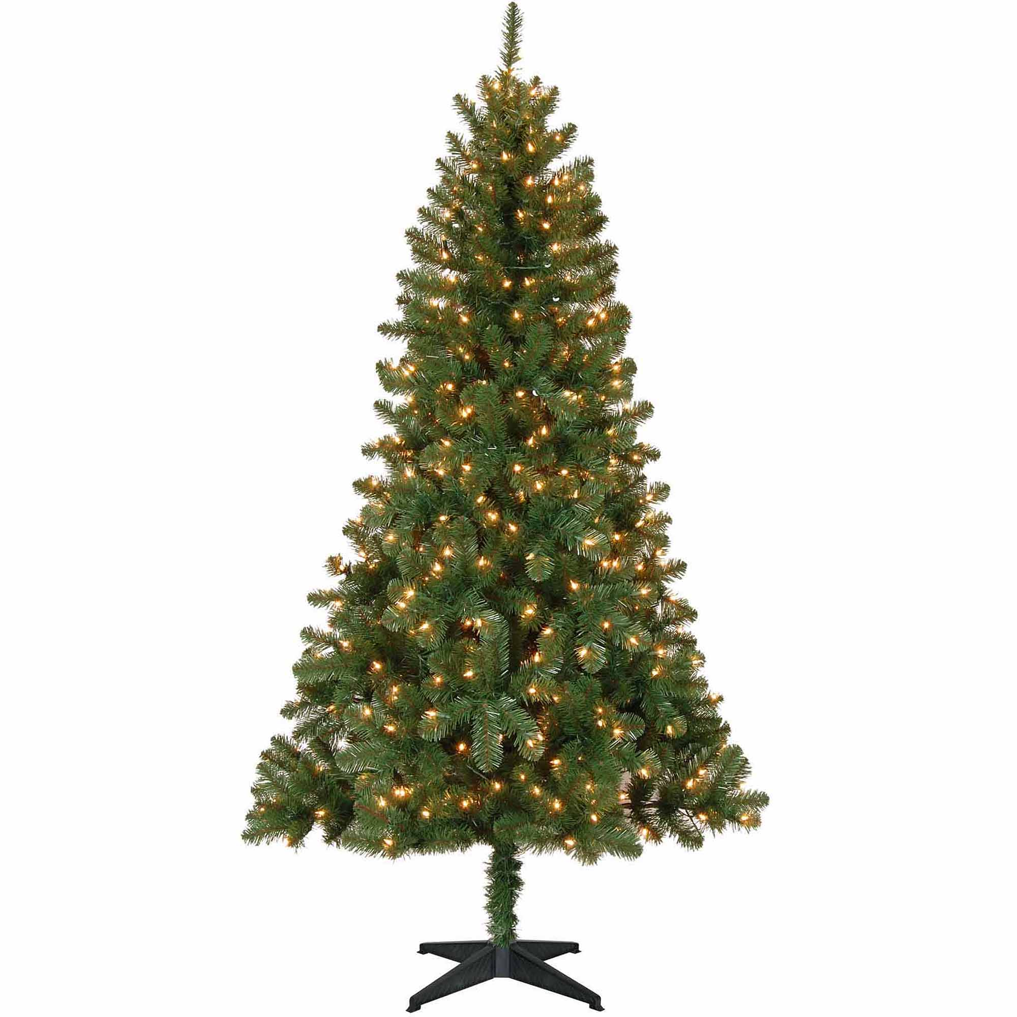 Real christmas trees with lights - Holiday Time Pre Lit 6 5 Madison Christmas Tree Green Clear Lights Walmart Com