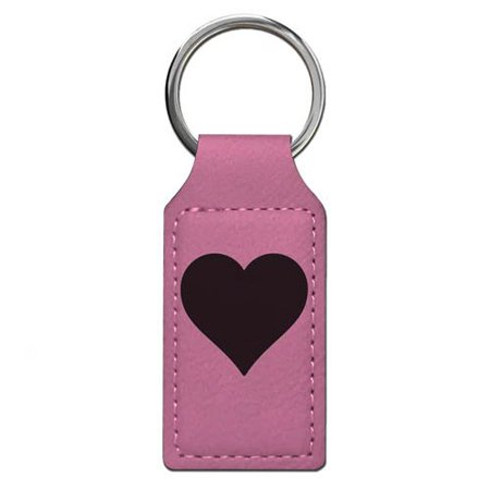 Keychain - Heart - Personalized Engraving Included (Pink Rectangle)